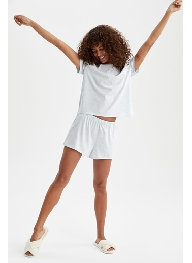 DeFacto Slogan Baskılı Relax Fit Pijama Takımı Mavi